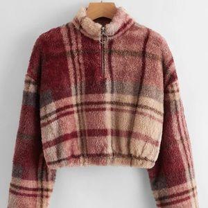 🍓 3/$10 SHEIN Plaid Zipper Front Crop Sweatshirt